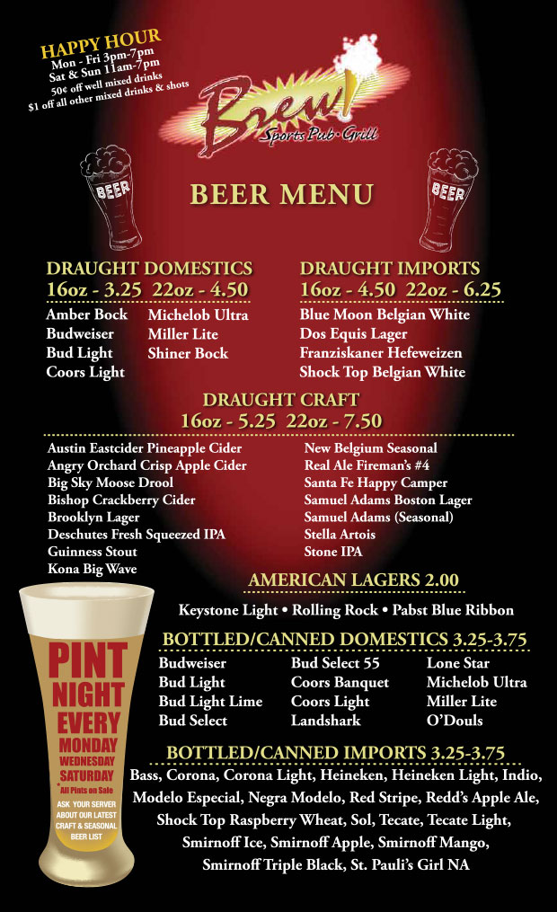 El Paso Bars Cant Match BREWS West Side Drink Menu – Beer Menu