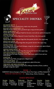 Specialty Drinks Menu West Side El Paso